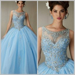 Wholesale 2016 Sky Blue Luxurious Crystals Quinceanera Dresses Cheap Sheer Neck Beaded Ball Gown Tulle Formal Gowns Arabic Prom Party Dresses
