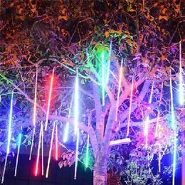 30cm meteor shower tubes ac90280v led christmas lights wedding party garden xmas string light outdoor