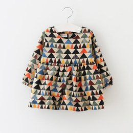 Wholesale Unique Girls Full Colorful Triangle Dresses Autumn Girls Boutique Clothing Age Years Kids Long Sleeves Dresses Korean Style