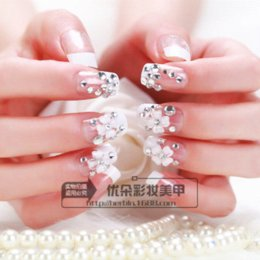 online shopping Hot Sale Snow White Flower Bridal Nail Art Patch Fake False Finger Art Sticker Display Decals Tips