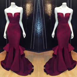 Wholesale 2016 Real Imagem Burgundy sereia Vestidos de noite formal front Dividir Ruffles Train Prom Pageant Vestidos Especial Ocasião Wear Custom Made baratos
