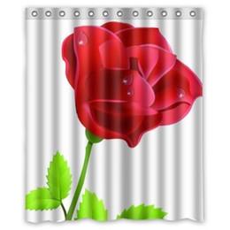 customized bath curtain beautiful rose flower waterproof shower curtain 160wx180h
