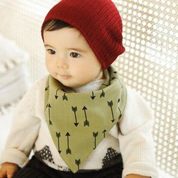 Wholesale Baby Yellow White Cotton arrow Bibs kids Double Layer Bandana Bibs infant Burp Cloths Slabbetjes Babador Feeding