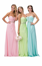 Wholesale Beaded Long Cheap Bridesmaid Dresses Chiffon Pink Beige Lime Green Aqua Silver Corset Women Formal Wedding Party Gowns Beach Boho