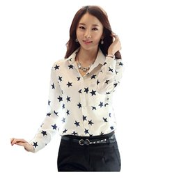 Wholesale 2016 New Stars printing Chiffon Blouses Womens Clothing Tops Shirt European Style Loose Shirts For Womens Tops t Shirts