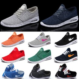 Discount shoes run air max SB Stefan Janoski Max Sneakers, 2016 Air Mesh Men Women Yellow Black Red Green Blue Grey Mixed Colors Casual Running Shoes with Original Box
