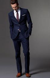 Wholesale Custom Made Dark Blue Men Suit Tailor Made Suit Bespoke Light Navy Blue Wedding Suits For Men Slim Fit Groom Tuxedos For Men