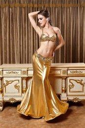 Wholesale Traje de sirena sexy para las mujeres Dos piezas de vestidos de sirenas de la sirena del partido Vestidos de la tapa del sujetador de la escala del oro de la tapa Vestidos largos de la sirena de Peplum