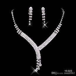 Wholesale 2016 Fashion Cheap In Stock Elegant Wedding Bridal Prom Rhinestone Crystal Jewelry Necklace Earring Set Silver Plated Lobster clasp
