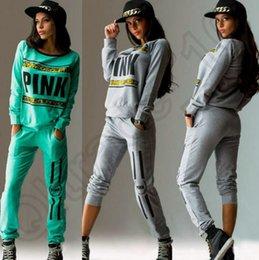 Mulheres Pink Tracksuit Hoodies Sweatshirt Calças SportWear Tracksuit Jogging Desporto Suit Cardigan Costume Set 2 cores OOA864 10pcs