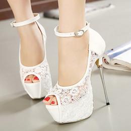 Wholesale Bridal White Lace Wedding Shoes Designer Shoes Ankle Strap CM Sexy Super High Heels prom dress shoes