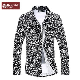 Discount Men Black Leopard Dress Shirt | 2017 Men Black Leopard ...