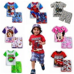 Wholesale Brand New Summer Suits Children Clothing Baby Boys Girls Cotton Short sleeve Tops Shorts Pajama Sets styles Kids Clothes
