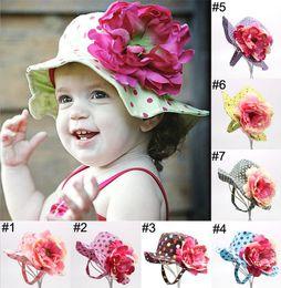Wholesale 7 colors Clinton dots flowers visor Large flower child bucket hats Fisherman sun hat E194
