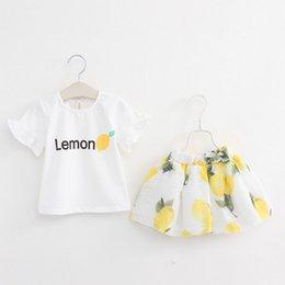 Wholesale Girl Tees Skirt Lemon Print Cute Fruit Children Two Piece Suit Summer T Shirt and Skirt Clothing Set