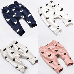 2016 Baby Kids Girls Boys casual pants Cute Whale logo Printed personalized children set 100% Cotton babies top Trousers Leggings wholesale
