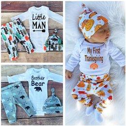 Wholesale Jumpsuits Thanksgiving Newborns clothing suit babies Romper pants hat beanie three piece suit boy girls clothing sets kids clothes