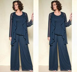 Wholesale 2016 Elegant Chiffon Mother Of The Bride Pant Suits with Jacket formal Wedding Autumn Long Sleeve Custom Made Plus Size Mother Pant Suits