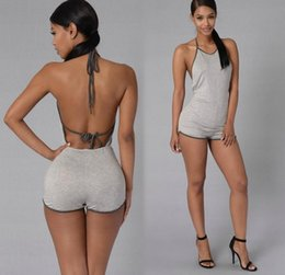 Wholesale 2016 New Womens Jumpers Summer Sleeveless Backless Jumpsuit Women Short Pant Female Overalls Clothing Jumpsuits Rompers