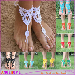 Wholesale Wedding ankle bracelet Europe crochet barefoot sandals foot jewelry anklet cotton handmade lace flowers wedding shoes