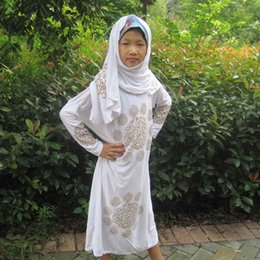 Wholesale Muslim Dress for Children Lycra Long Sleeves Arabia character pattern with a hijab colors