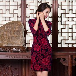 Wholesale 2016 New Autumn Chinese Traditional Vintage Cheongsam Dress Improved Qipao Velour Evening Dresses Half Sleeve FMS019