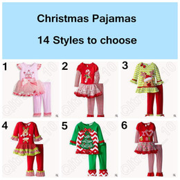 14 Дизайн Рождество Пижама с длинным рукавом Пижамы Дети полосатой пижаме Дети Ночное Набор Xmas пижаме Детские пижамы LJJC4963 30set