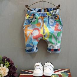 Wholesale Boys Fashion Personality Jeans Children Colorful Print Denim Pants Boy Kids Jeans Elastic Waist Worn out Denim Pants Half Trousers K336