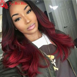 2017 ombre two tone color virgin hair 1b 99j Lace Front Wig Ombre Burgundy Human Hair Lace Wig Red Full Lace Wig 1b 99J Two Tone Wavy Wigs For Women cheap ombre two tone color virgin hair