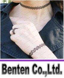 Hot Sale 3 pièces / set femmes Tattoo Choker + Anneau + Bracelet Retro Punk gothique élastique Collier Layered Sautoirs For Girls Mode Bijoux LLFA