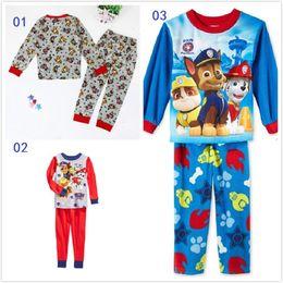 12 sistemas de la ropa de los niños de la pata patrulla de los pijamas del bebé 2016 nuevo algodón de manga larga de la historieta ropa de diapositivas pantalones Homewear muchachos del juego niñas nieve