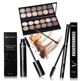 Wholesale Newest Qibest Eyes Makeup Set Mascara Eyeliner Eyeshadow Eyelash Makeup Brush Magical Halo Mascara Waterproof
