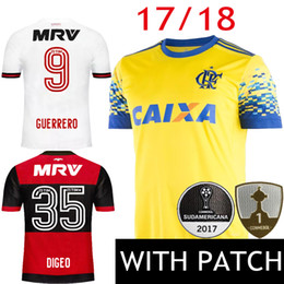 17 18 CR Flamengo Soccer Jersey 2017 2018 Brazil Third Yellow Camisa de  futebol GUERRERO DIEGO Ribeiro Mancuello Football Shirts ... bfb543d9d