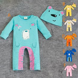 Wholesale RMY27 NEW Design infant Kids Cartoon Animals Print Cotton Cool Long sleeve Romper baby Climb clothing boy girl Romper hat free ship