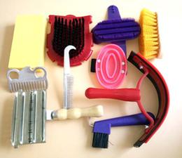 Grooming kit caballo aseo cepillos productos de limpieza seguros para mascotas, cepillo de caballo diez conjuntos, fácil de usar