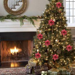 10pcs christmas tree ornaments artificial flower 15cm christmas tree decorations for merry christmas home decoration - Christmas Decorations Wholesale