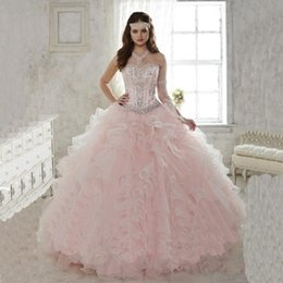 Wholesale Light Pink Quinceanera Dresses Ball Gowns Sweetheart With Beads Sweet Dress Vestidos De Anos Quinceanera Gowns
