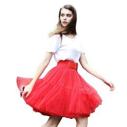 2016 Pink New Tutu Tulle Saias Para Mulheres Vintage Saias Dama De Casamento Joelho Comprimento Partido Saias Petticoat faldas de tul para CPA539