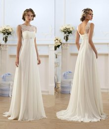 2017 lace up natural waist wedding dress Elegant Sheath Wedding Dresses A Line Sheer Neck Capped Sleeve Empire Waist Sweep Train Chiffon Cheap Summer Beach Bridal Gowns HY1016