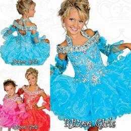 Wholesale 2016 Blue Ritzee Girls baby infant cupcake toddler glitz pageant dresses for little girls crystal halter straps Kids Birthday Dresses