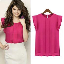 Wholesale Women s T shirt plus size summer Short sleeved chiffon shirt jacket fashion sexy Bohemia t shirt New pattern