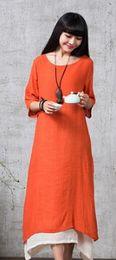 Wholesale New Autumn Cotton Linen Vintage Dress Women O Neck Casual Loose Boho Long Maxi Dresses Vestidos Plus Size