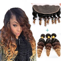 2017 ombre brazilian loose wave closure Three Tone 1b 4 27 Ombre Full Lace Frontal Closure With Bundles Brown Blonde Ombre Brazilian Virgin Human Hair With Frontals Loose Wave cheap ombre brazilian loose wave closure