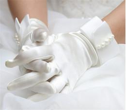 Nuevos pulsera de moda de la perla blanca guantes nupciales coreanos Guantes de boda del vestido de los mitones del párrafo corto