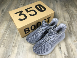 Wholesale With Box Adidas Originals Yeezy Boost V2 Running Shoes Men Women Hot Sale SPLY Yeezys Gray White Sports Shoes Size