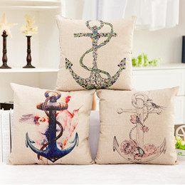 45cm Red And Blue Anchor Life Buoy Cotton Linen Fabric Waist Pillow 18inch Fashion New Home Gift Coffeehouse Decoration Sofa Car Cushion