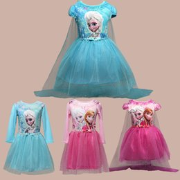 Wholesale Prettybaby girls frozen dresses styles Elsa Anna printing lace tutu dress kids sequins princess party cosplay costume Pt0488 DHL