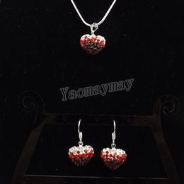 Heart Shape Pendant Rhinestone Shamballa Jewelry Set Gradient Red Earrings  And Necklace For Women 5 Sets Wholesale Free Shipping 6b7d01e13b64
