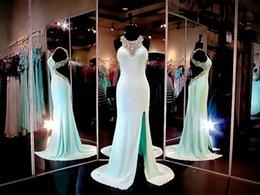 Wholesale Aqua Jersey Formfiitting Prom Dresses VC Beaded Halter Open Back Criss Cross Straps Formal Gowns Front Split Party Dresses