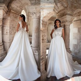 Wholesale Modest Lace Capped Sleeve Backless Stain A line Wedding Dresses With Deachable Skirt Pockets Court Train Bridal Gowns Custom EN82417